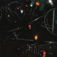Die Konstellation von Fahrrädern bei Nacht